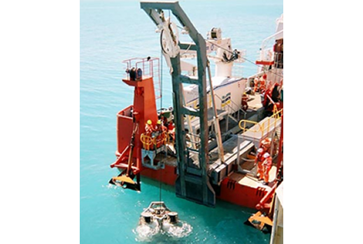 Ocean going ship with large crane for lifting of submersibles - Predictive Engineering FEA Consulting Services
