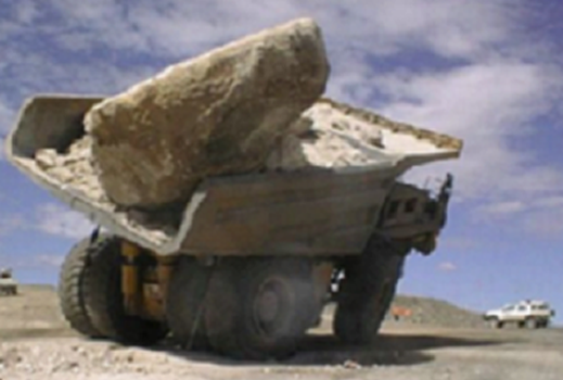 Discrete Element Method: Rock Drop Test of Dump Truck Body