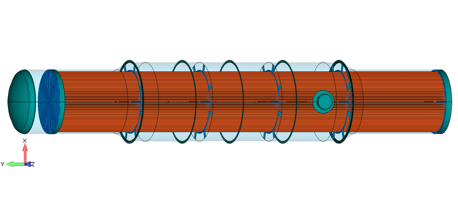 Figure 1:  The tubes of this shell-and-tube heat exchanger were modeled with beam elements.