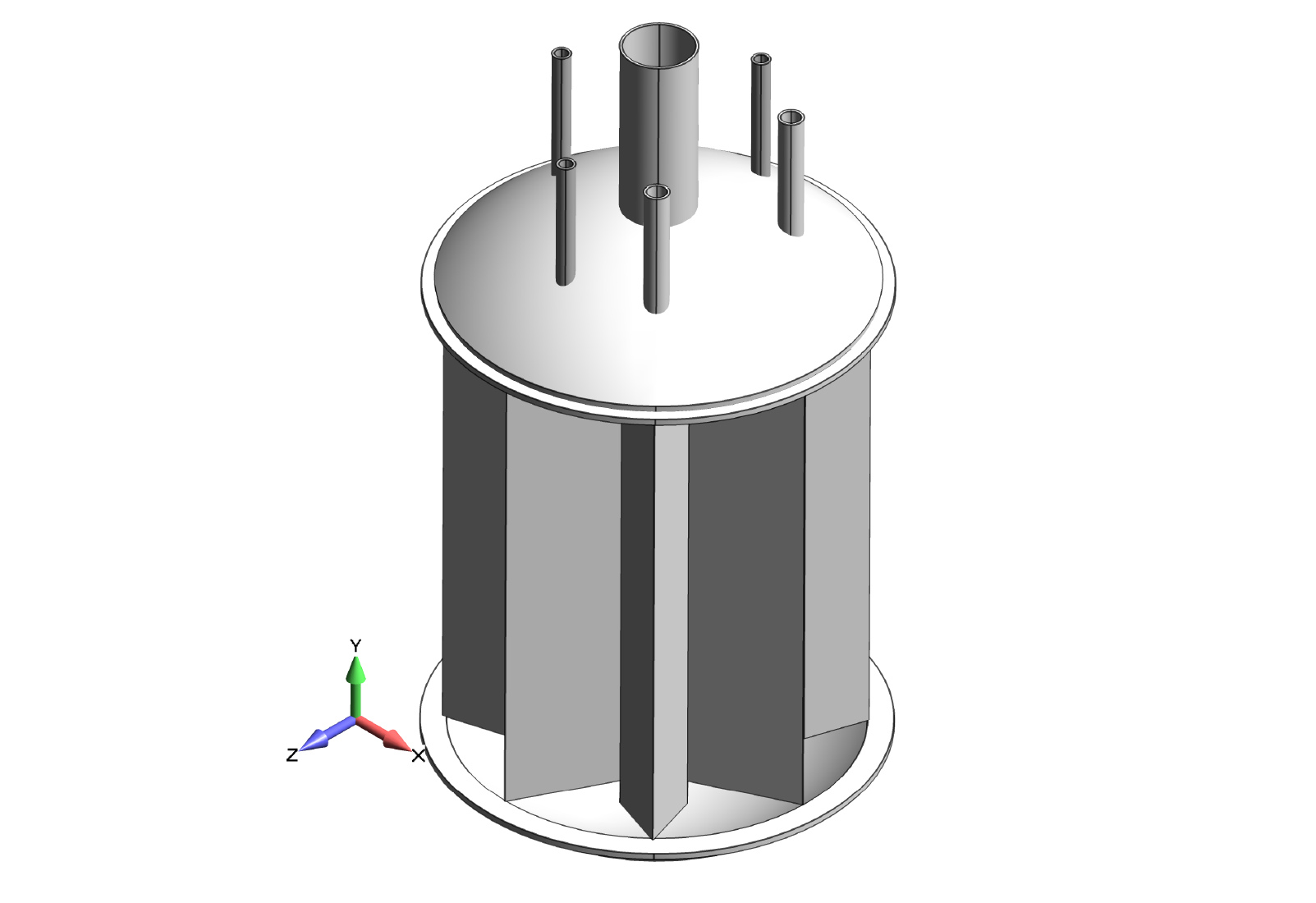 Figure 1: Original cryogenic ASME pressure vessel CAD geometry.