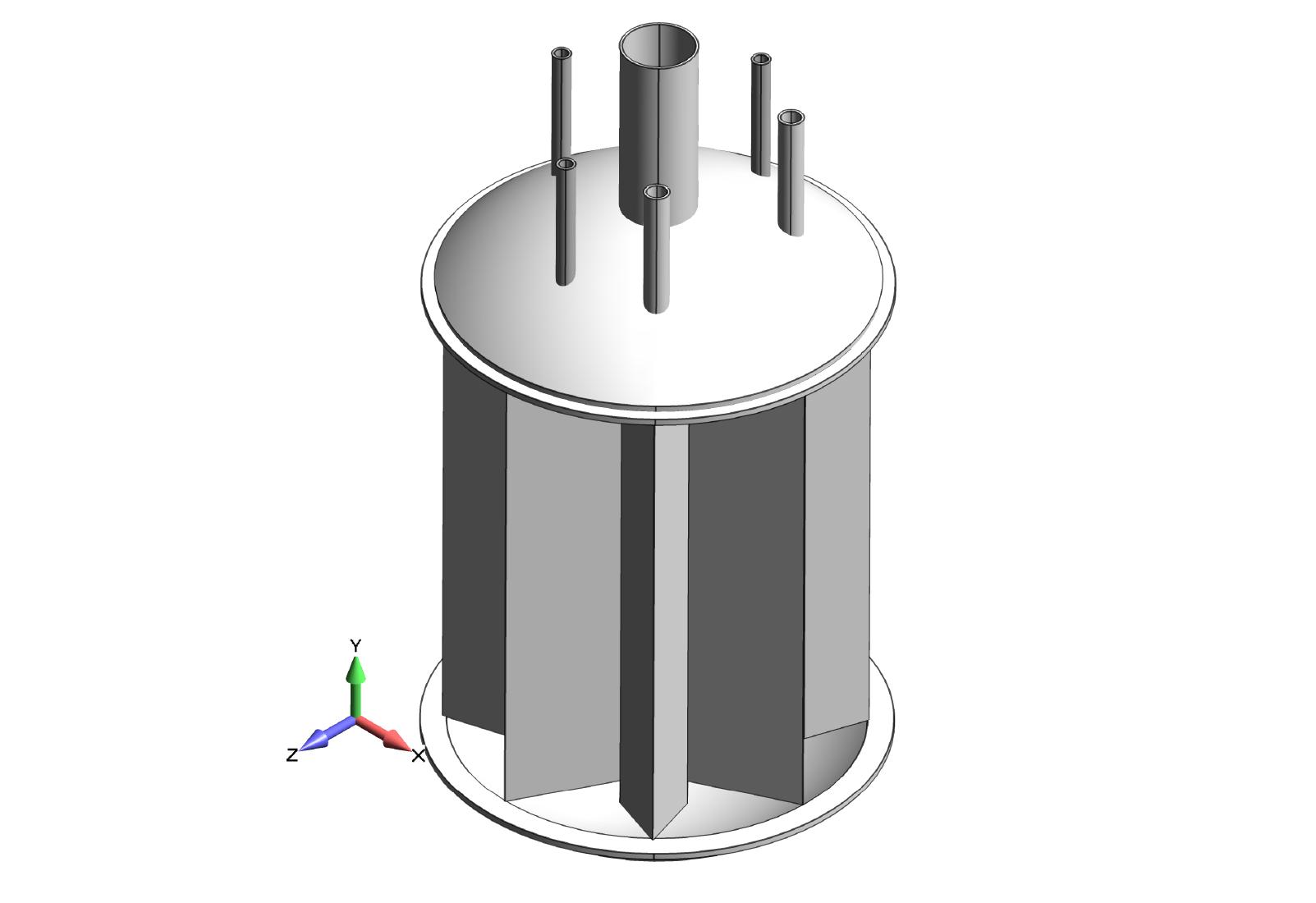 Figure 1: Original cryogenic ASME pressure vessel CAD geometry.