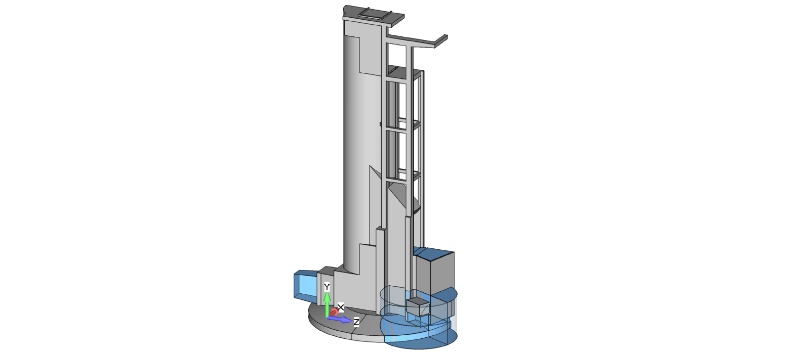 CFD idealized geometry of the dewatering system with relief gate.