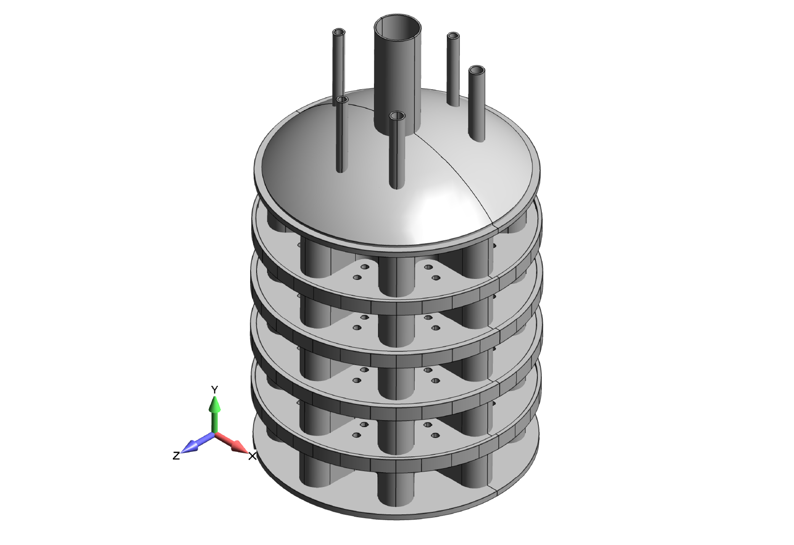 Figure 2: Final vessel design as a collection of surfaces ready for FEA plate meshing