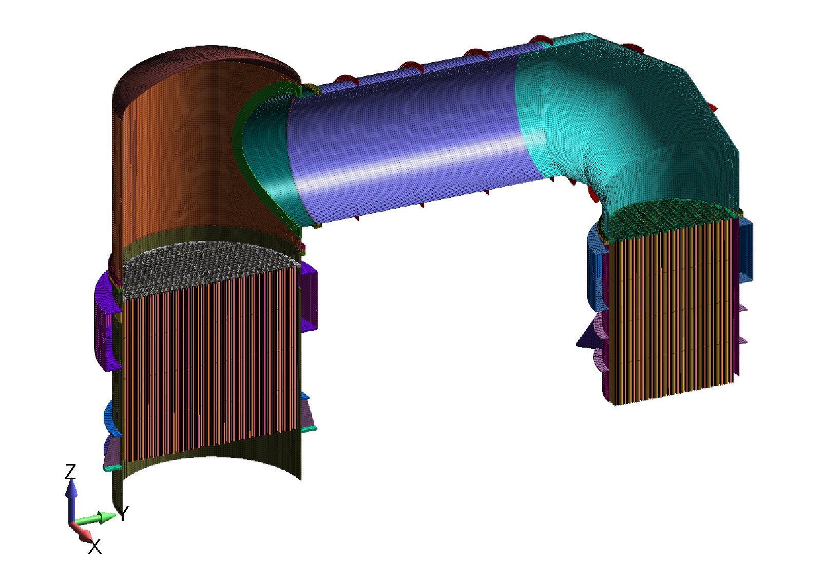 FEA model of Section VIII, Division 2 pressure-vessel condenser analysis - Predictive Engineering ASME BPVC Pressure Vessel Consulting Services
