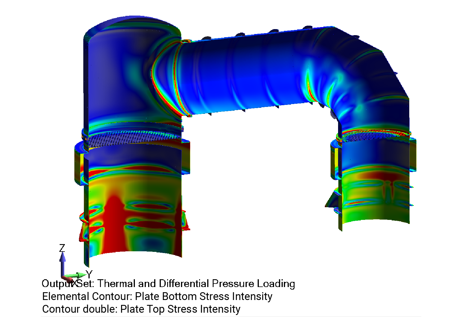 ASME Section VIII, Division 2 stress intensity contour plot over condenser - Predictive Engineering ASME BPVC Pressure Vessel Consulting Services