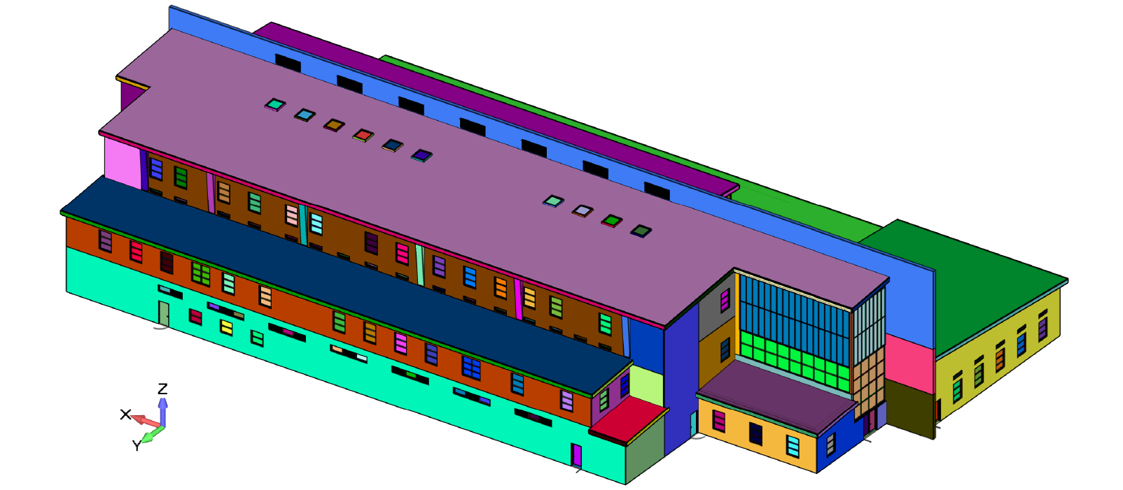 CAD Geometry of the LEED designed multipurpose building used as the starting point for the CFD simulation model