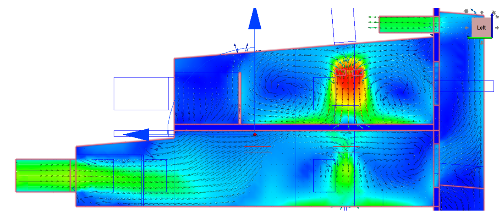 Air flow velocity traces were made throughout the building via section-cuts