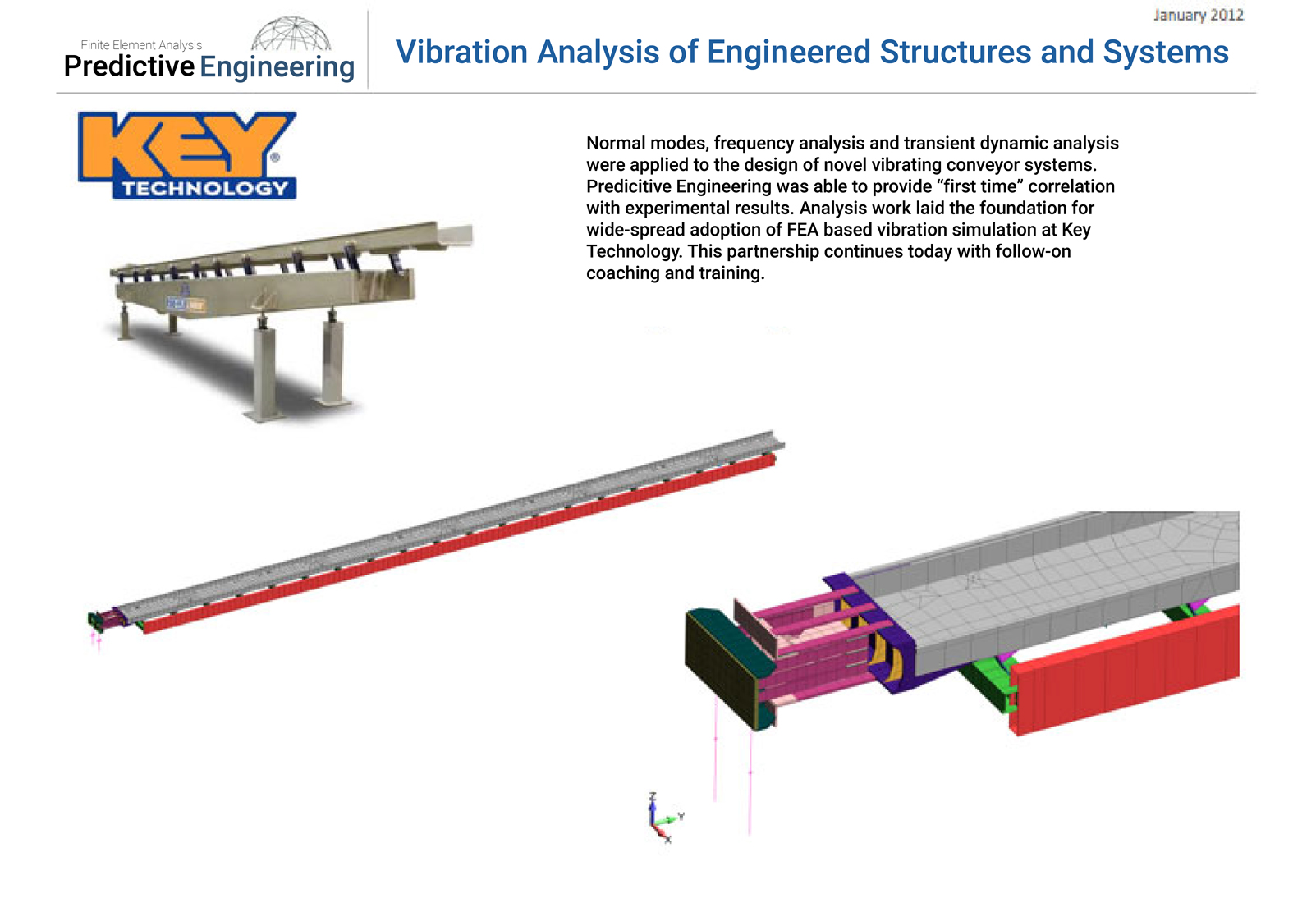 Normal modes, frequency analysis and transient dynamic analysis were applied to the design of novel vibrating conveyor systems.