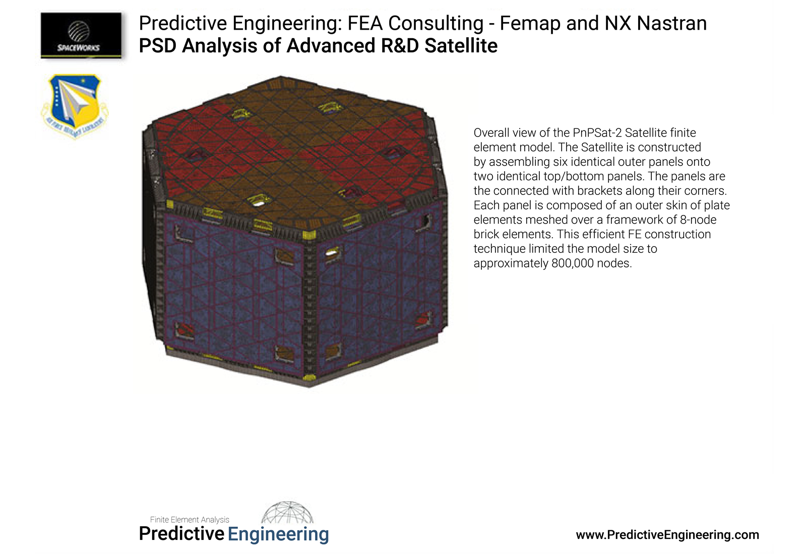 PnP Satellite Assembled by Six Panels - meshed with brick and plate elements - Predictive Engineering FEA Consutling Services