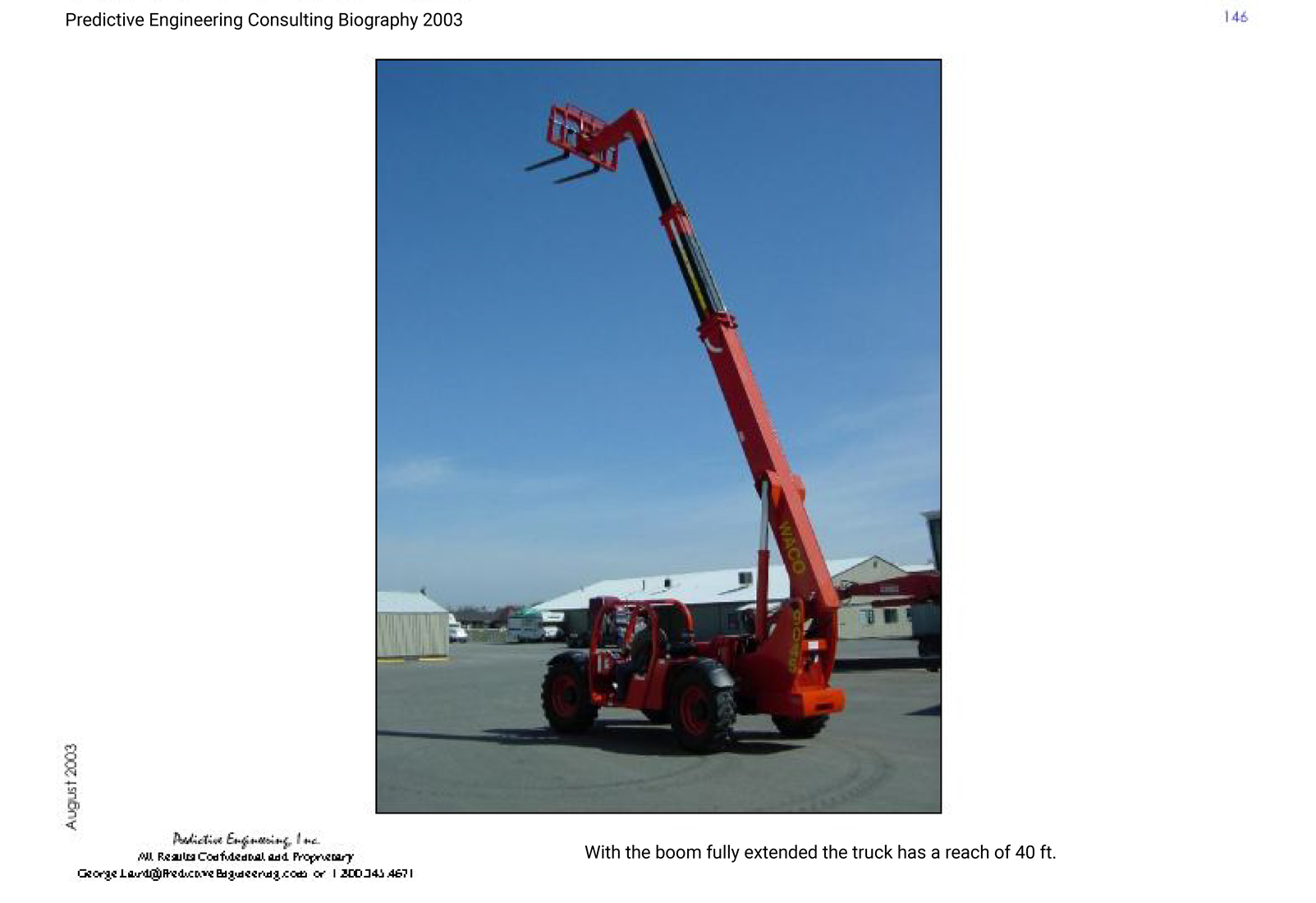 Lift truck analyzed using FEA with the boom fully extended