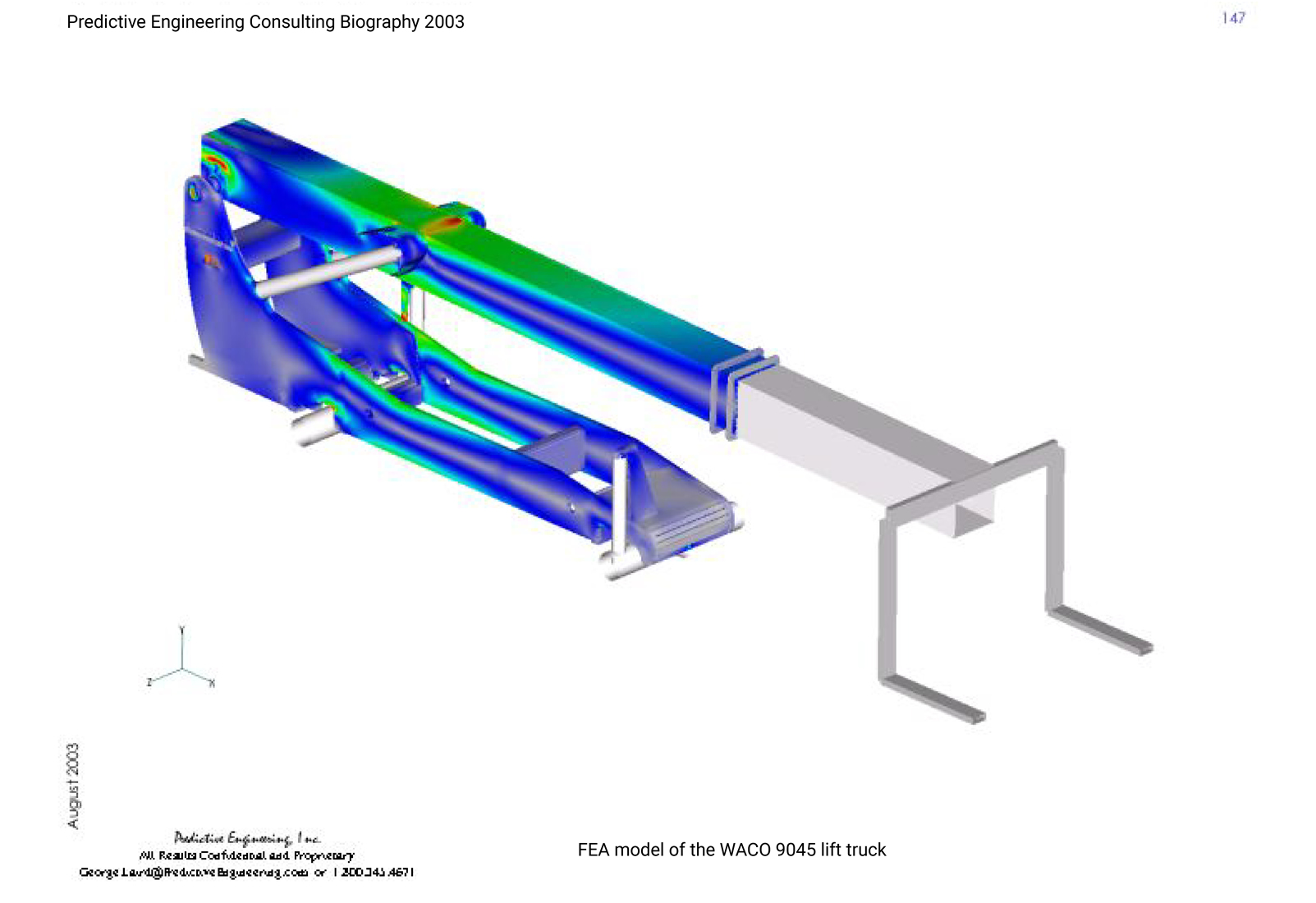 FEA model (Femap) of lift-truck with the boom in the carry position