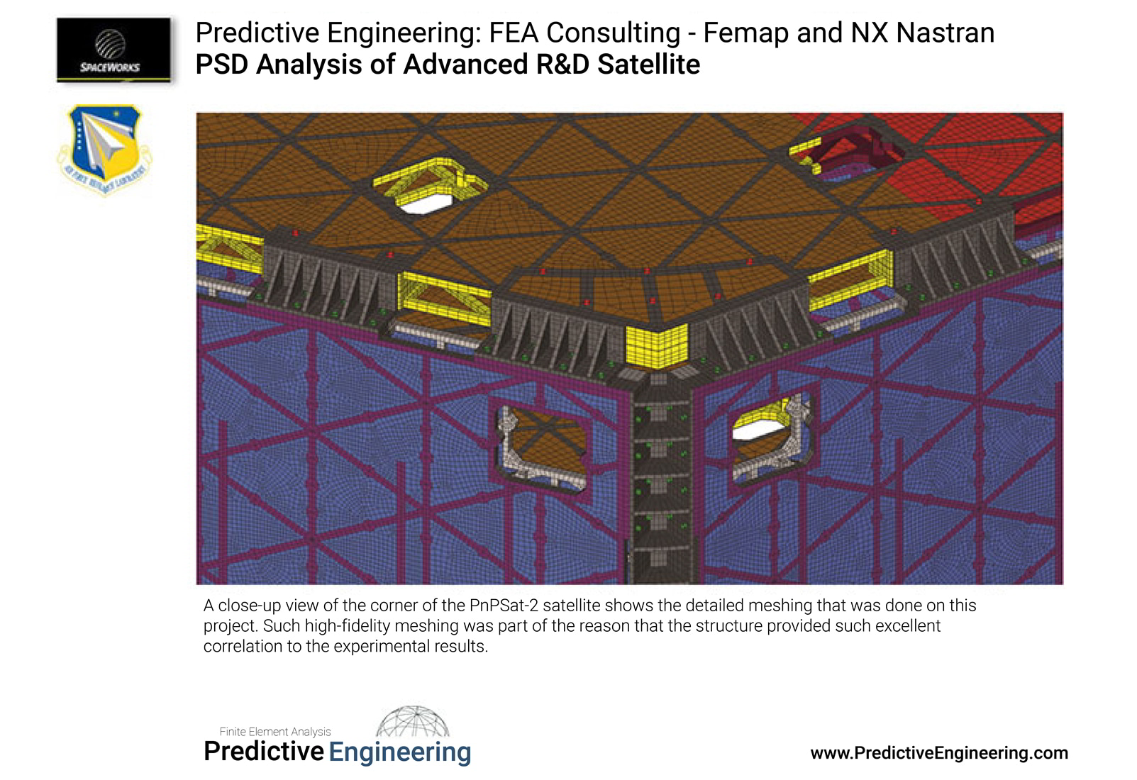 A close-up view of the corner of the PnPSat-2 satellite shows the detailed meshing that was done on this project.  Predictive Engineering FEA Consulting Services