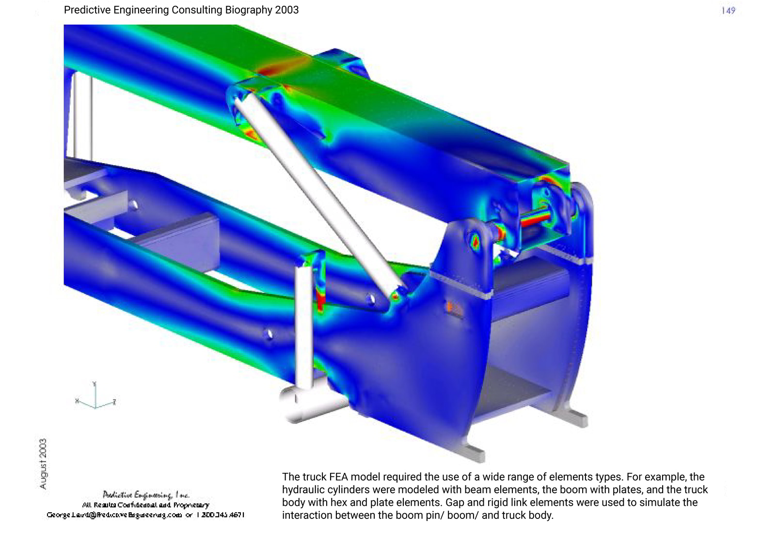 The FEA model (Femap) of the lift-truck used a wide range of FE element types from solid to plate to RBE to beam elements