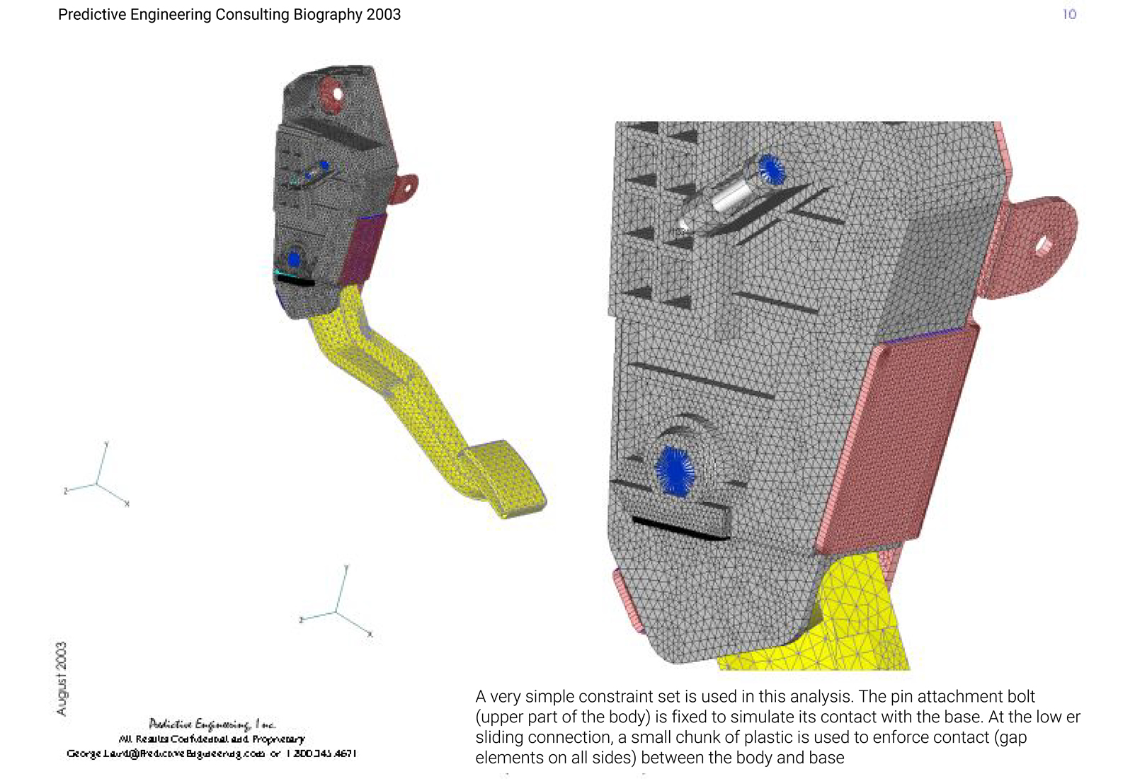 Femap model of pedal housing showing constraint set