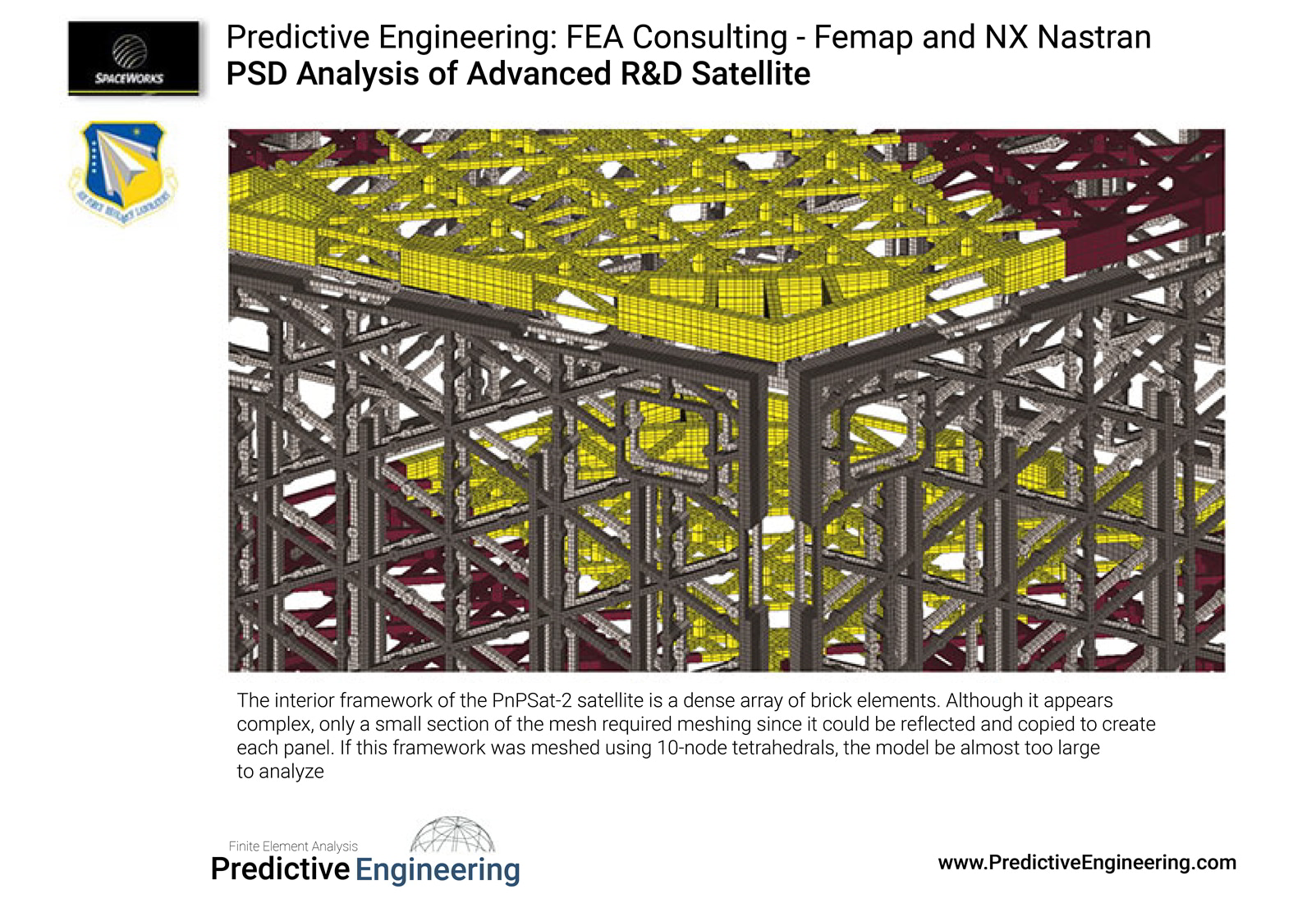 The interior framework of the PnPSat-2 satellite is a dense array of brick elements - Predictive Engineering FEA Consulting Services
