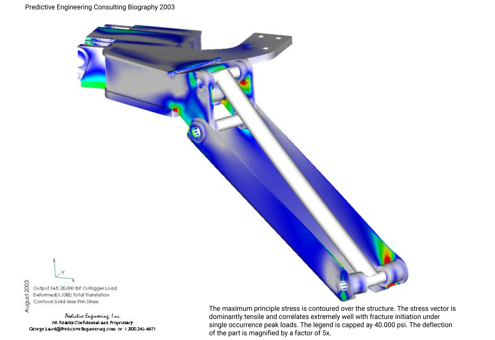 The maximum principle stress is contoured over the structure outrigger arm of the lift truck