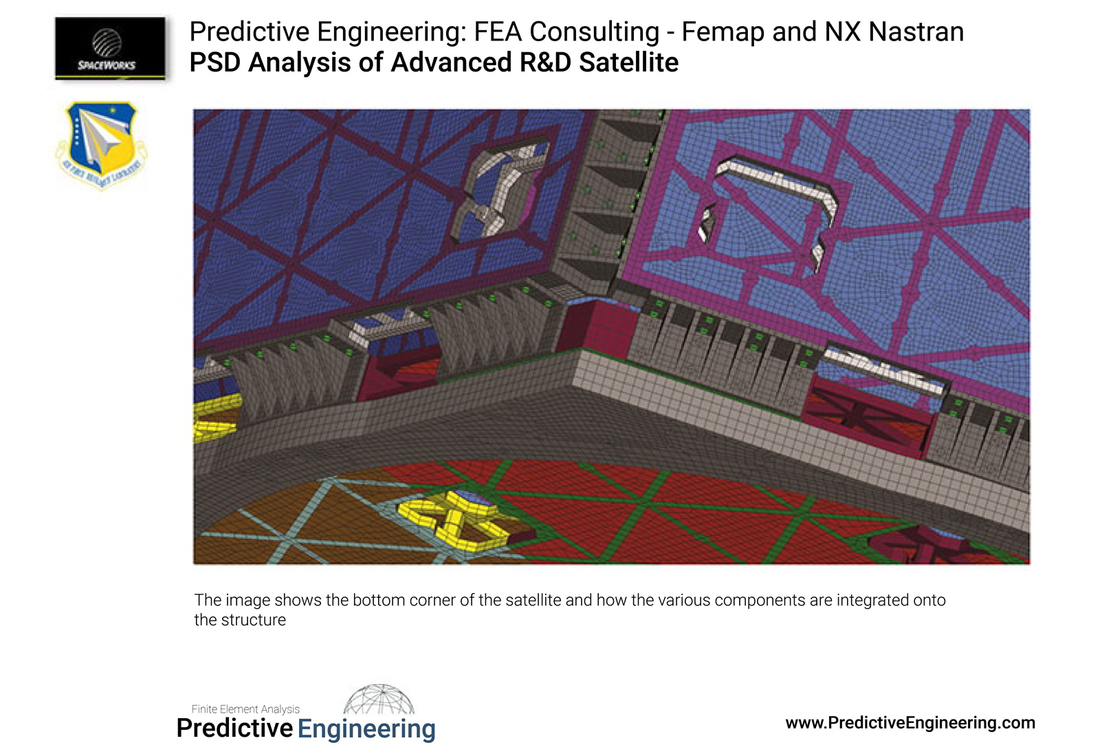 Integration of corner panels into PnP FEA satellite model - Predictive Engineering FEA Consulting Services