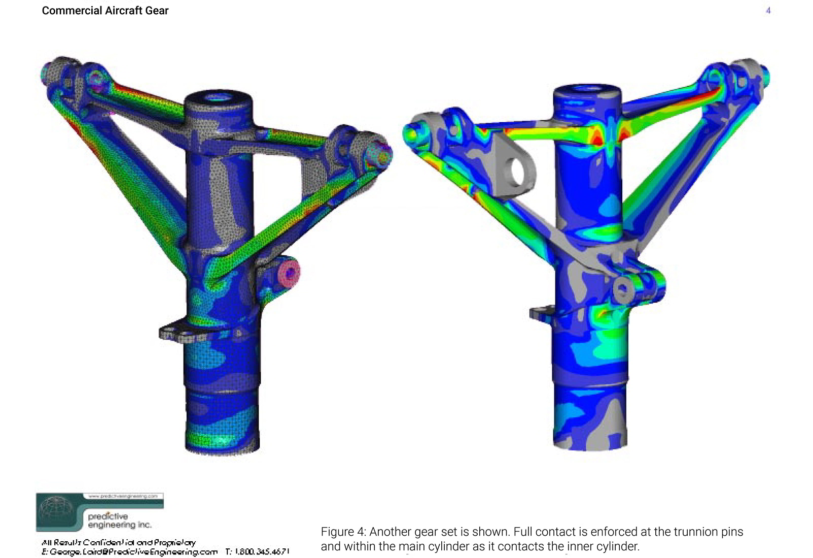 Another landing gear set is shown as mesh in Femap and analyzed in Nastran