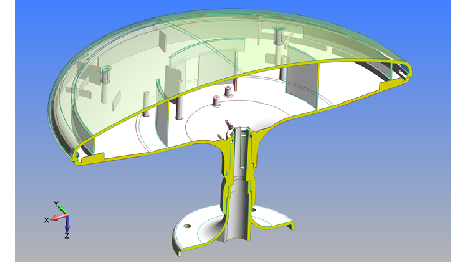 Initial CAD geometry for modern all-plastic antenna design