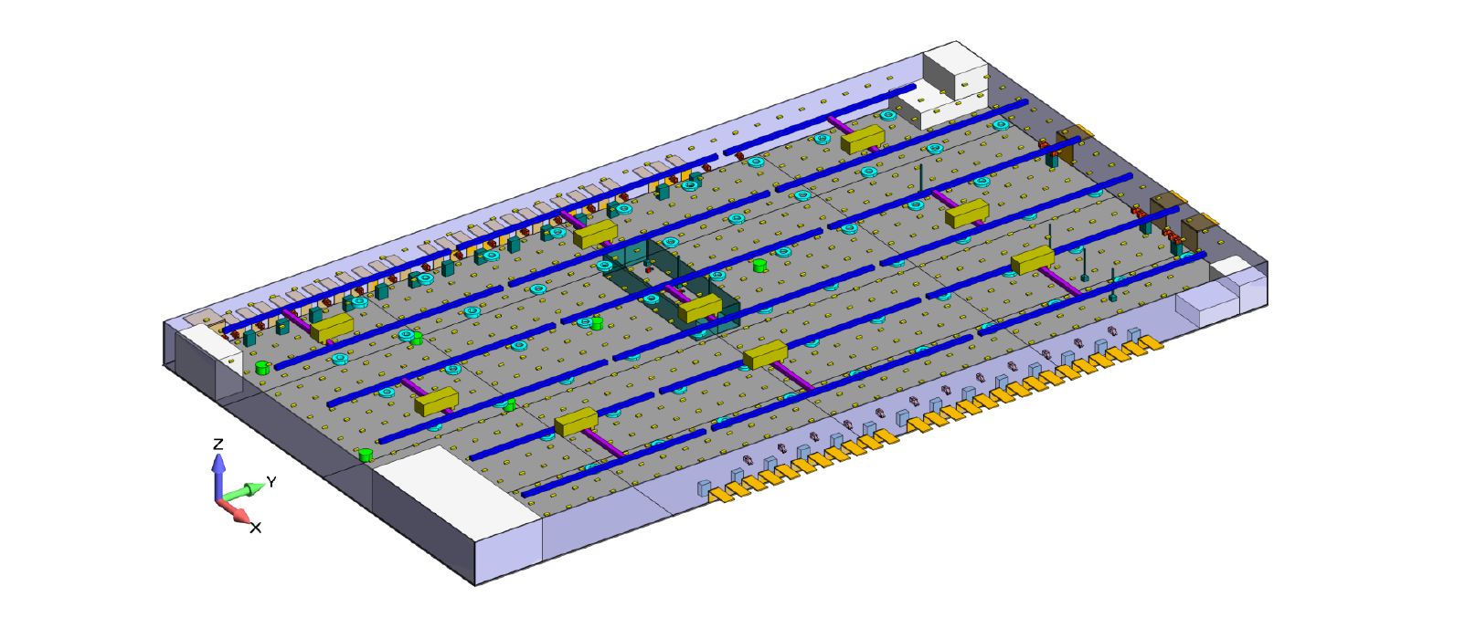 The CAD geometry of the piston pump is shown above. The CFD analysis focused on the internal fluid volume shown in green while the FEA focused on the cast structure shown in gray.