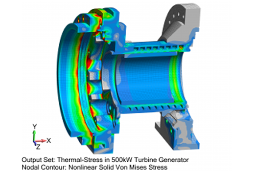 Predictive Engineering's Thermal-Stress Consulting Experience - Image of 500kW Turbine Generator under thermal-stress loading