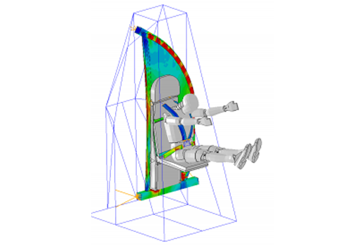 LS-DYNA Non-Linear FEA Consulting Service - 16g Sled Test of Aircraft Interior Lavatory Wall