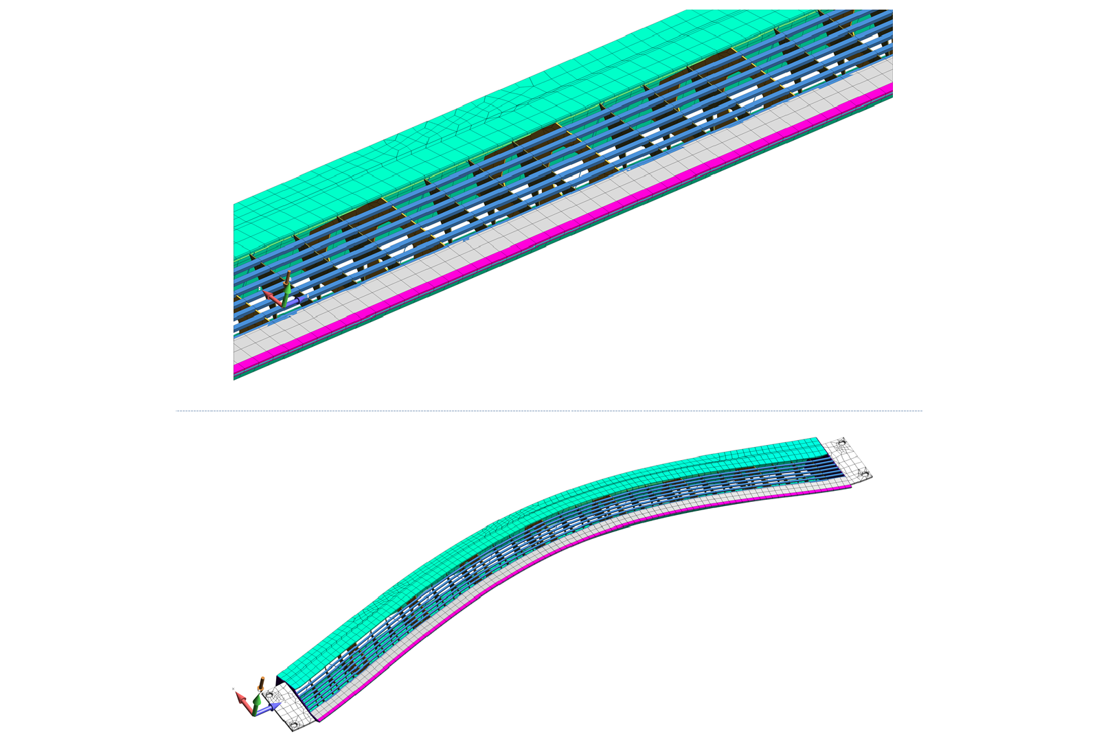 Figure 10: Normal modes analysis using NX Nastran of a paper mill forming board.  Optimization of the structure developed a design that was stiffer and lighter than any other structure on the marked.