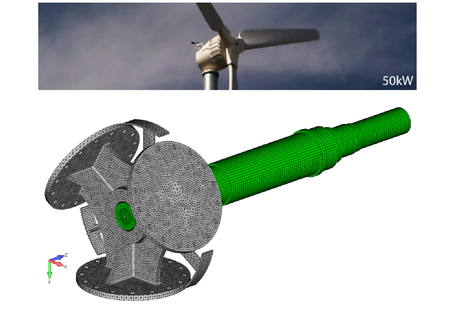 Figure 13: FEA simulation work by Predictive Engineering on 50 kW wind turbine blade hub, drive shaft and nacelle.