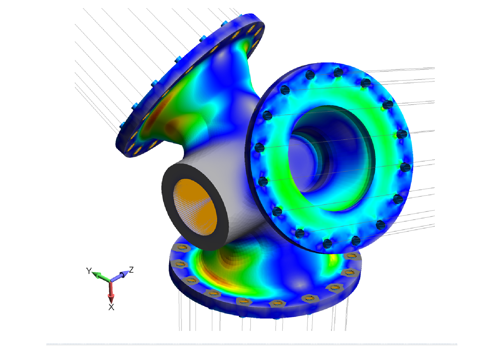 Figure 14: FEA simulation of 50 kW wind turbine blade hub.  The lines are rigid links (RBE2) used to apply the blade loads onto the hub.