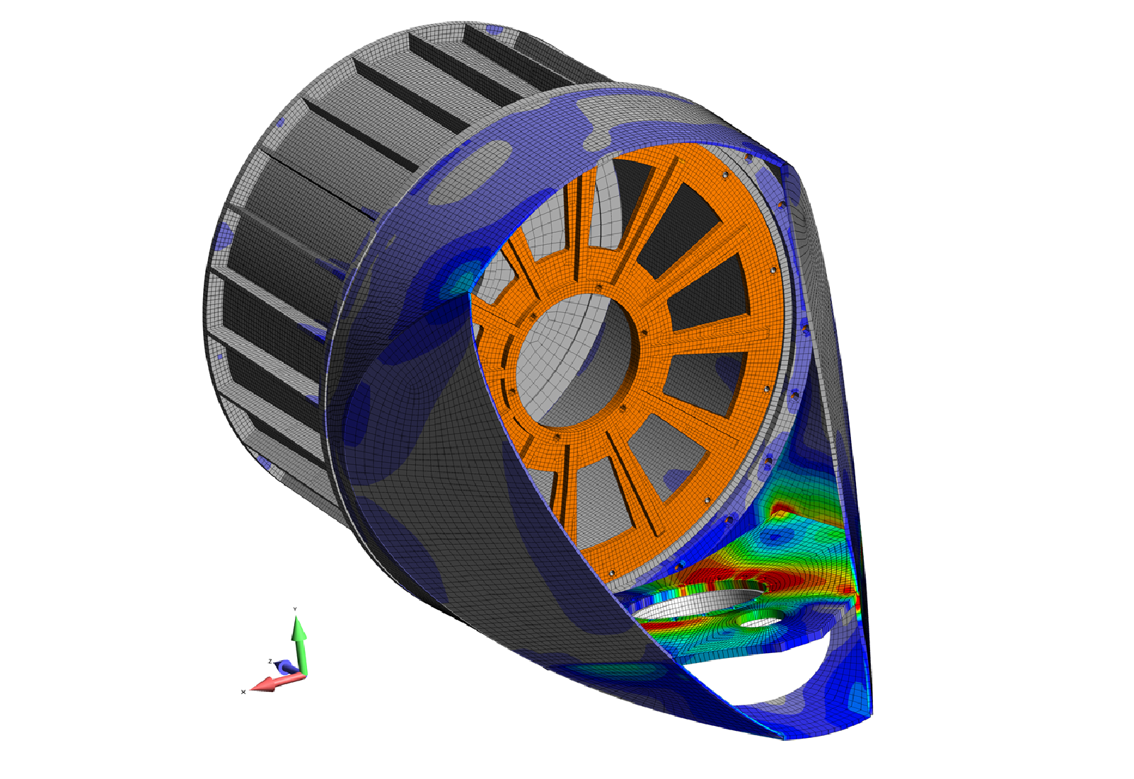 Figure 15: Stress analysis of 50 kW wind turbine nacelle given tower and blade hub loading.