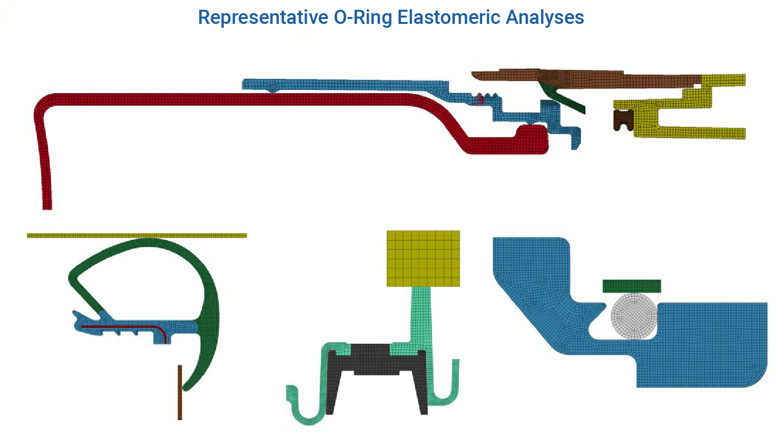 Figure 1 - Different O-Ring simulations from 2-D to Axisymmetric - LS-DYNA Consulting Services