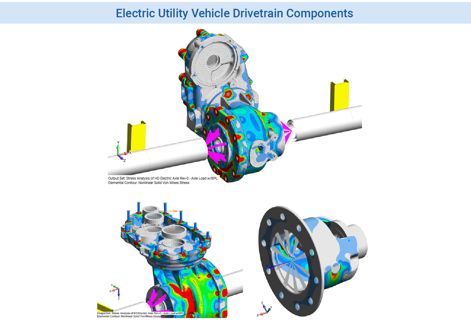 FEA Consulting Services - Stress and fatigue analysis gearbox and drivetrain components for a light-weight electric utility vehicle.  The FEMAP model was analyzed using NX Nastran SOL 601 (ADINA).