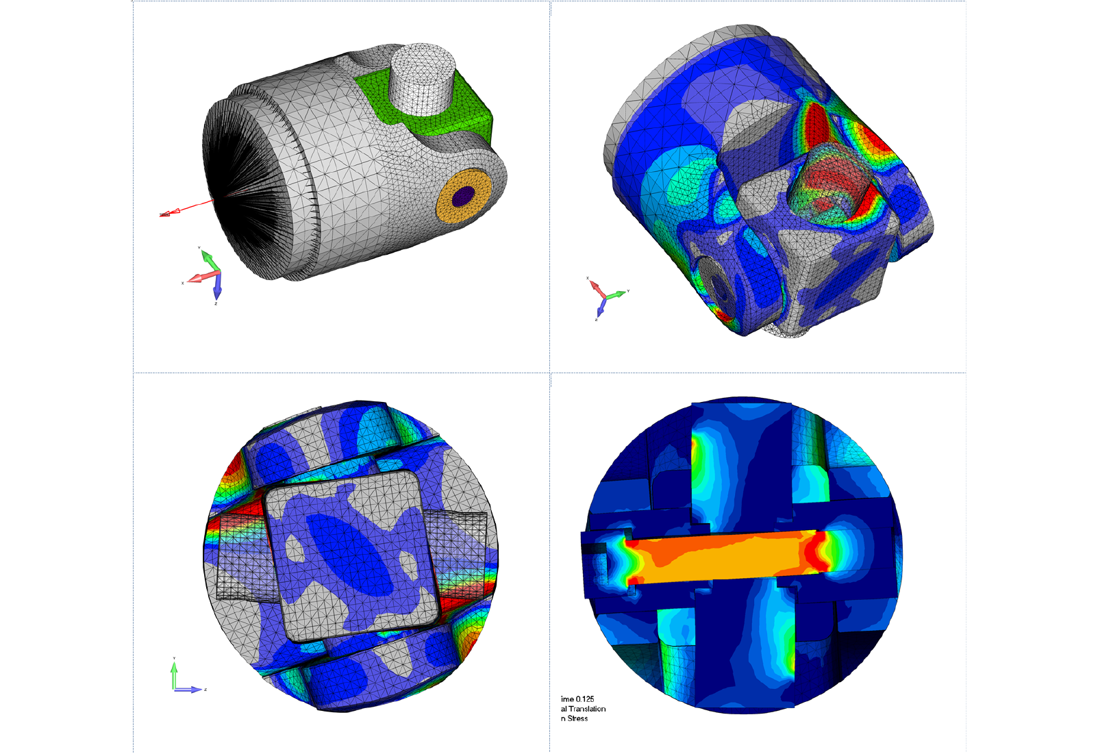 Figure 1: Stress and fatigue analysis of a high-strength U-joint for steel mill leveling table.  The U-joint was fabricated using tool steel and high-strength steel.  The Femap model was analyzed with all surfaces contacting and allowing for material plasticity using NX Nastran SOL 601 (ADINA) and LS-DYNA.