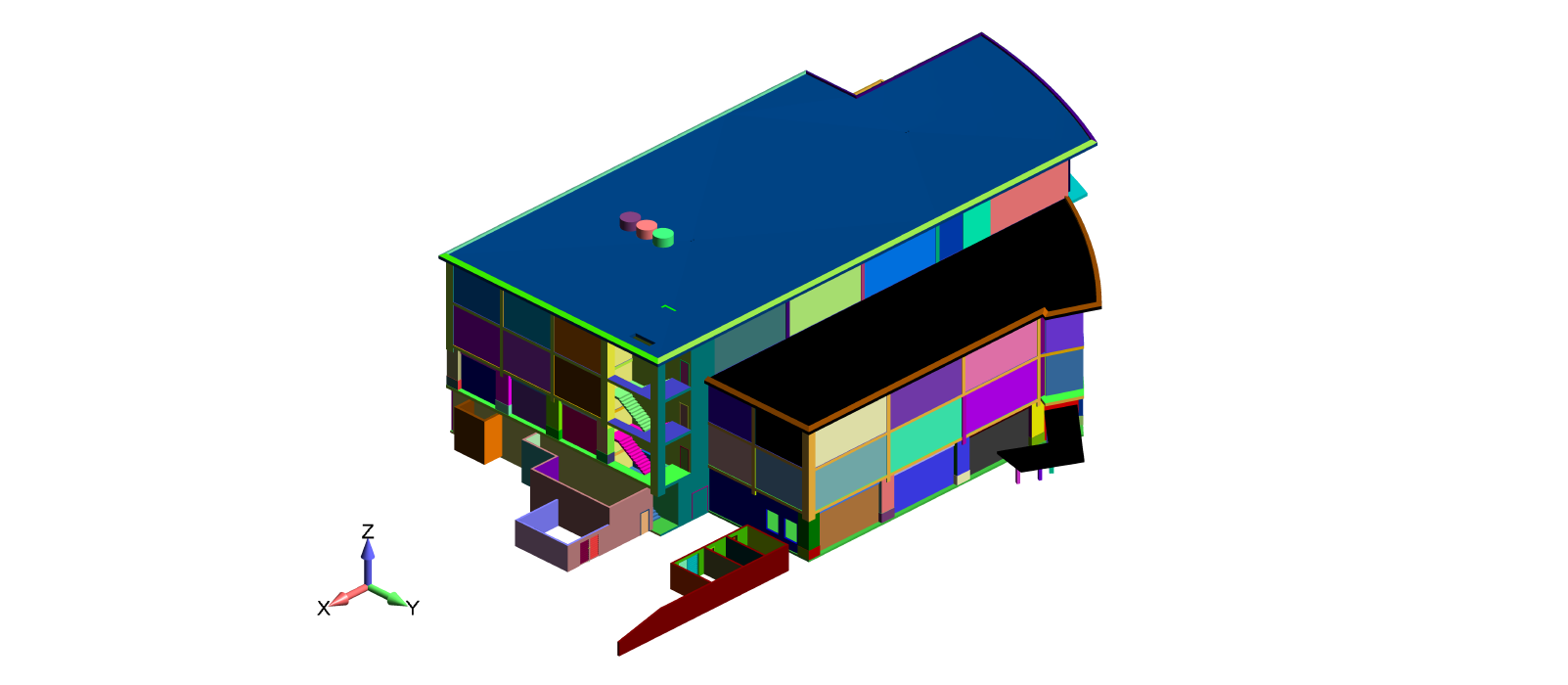 CAD geometry of the building unit used as the basis for the CFD model - CFD Consulting Services