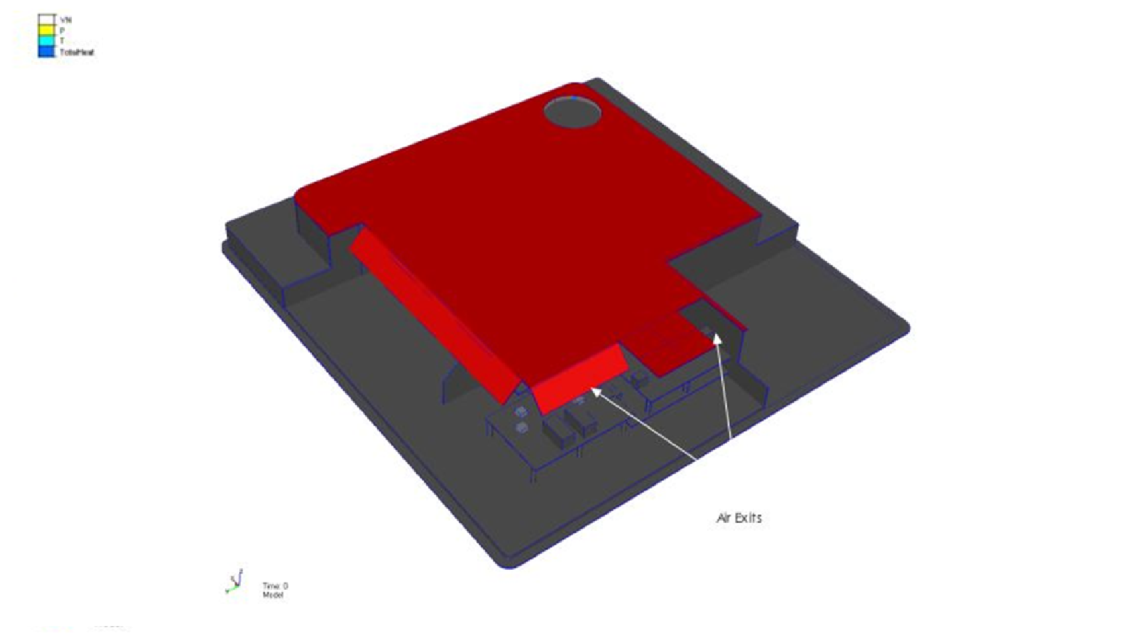 CFD simulation model of internal electronics assembly with thermal flow shield and chips and printed circuit boards (PCB)