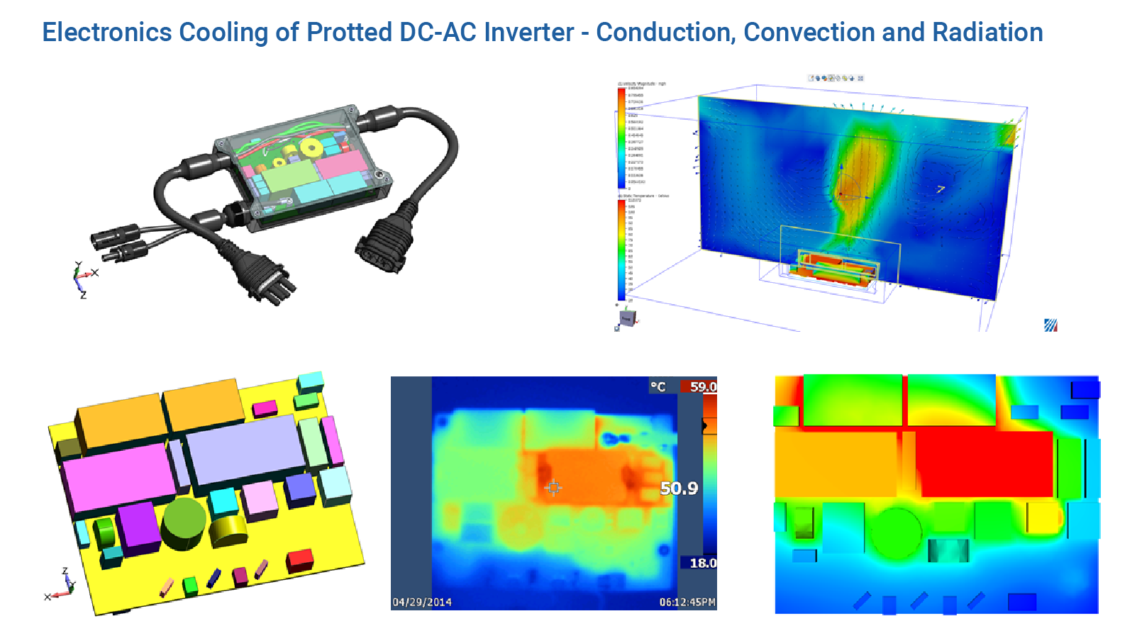 Electronics Cooling of Potted DC-AC Inverter – Conduction, Convection and Radiation - Predictive Engineering CFD Consulting Services