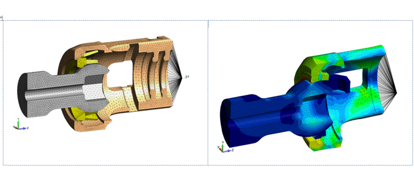Figure 2: FEA simulation model of titanium locking pedicle screw for spinal surgery as analyzed for its locking capability as a function of interference fit and friction coefficient