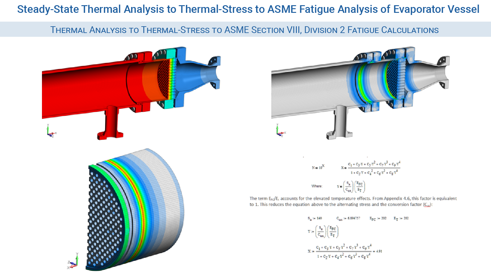 FEA Pressure Vessel Consultants - Steady-State Thermal Analysis to Thermal-Stress to ASME Fatigue Analysis of Evaporator Vessel