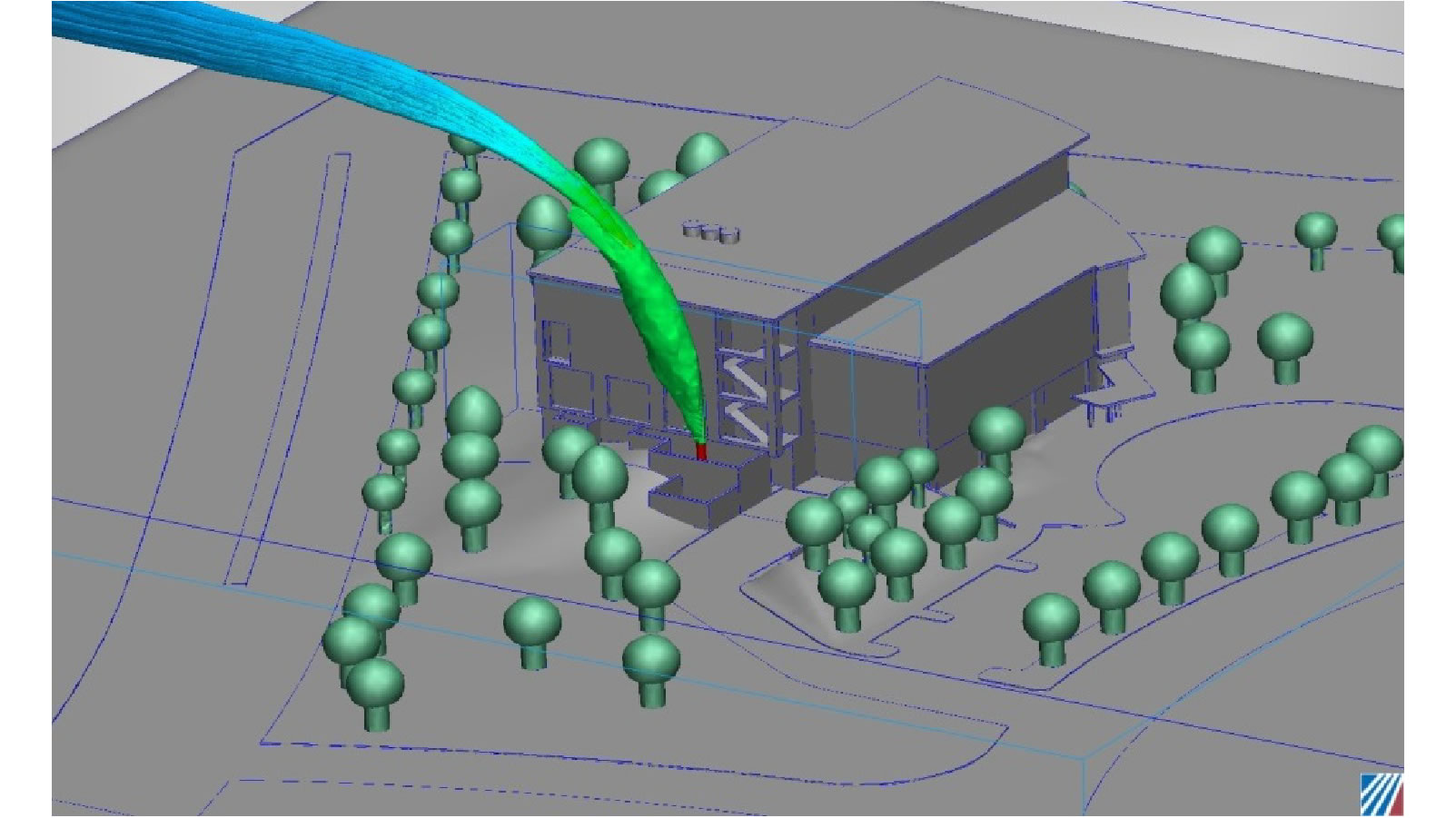 Particle tracing showing that the diesel exhaust will not infiltrate into the HVAC system even with a strong wind pushing the exhaust towards the inlet.  CFD Consulting Services