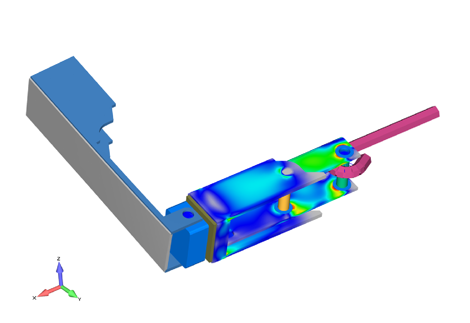 Figure 9: FEA Simulation of hand tool for ultimate mechanical strength during hex nut torque operations.  Stress and deflection analysis to determine optimized ergometric operation.