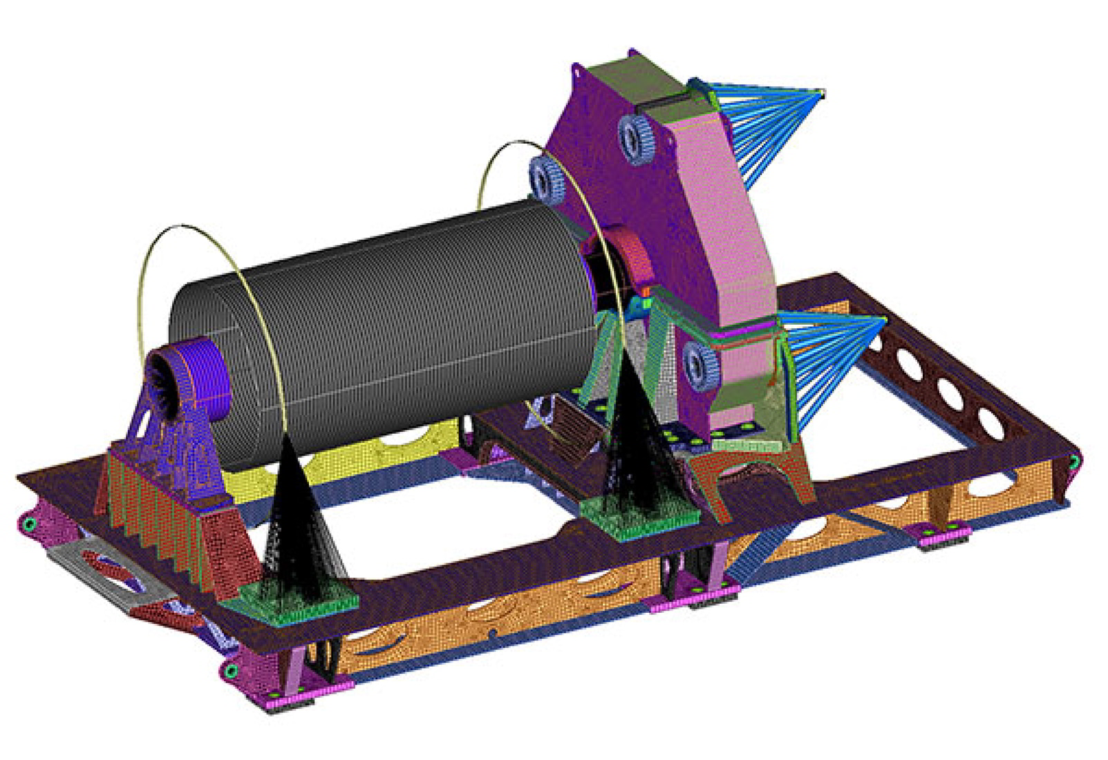 Off-shore oil drilling platform high-speed top drive winch