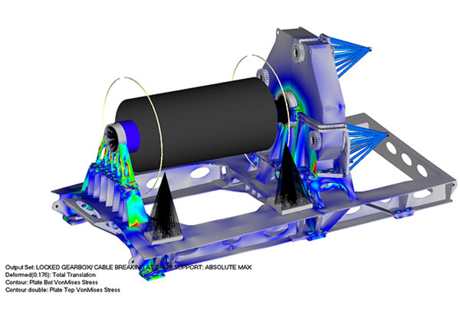 FEA model of high-speed, high-capacity winch for the oil patch
