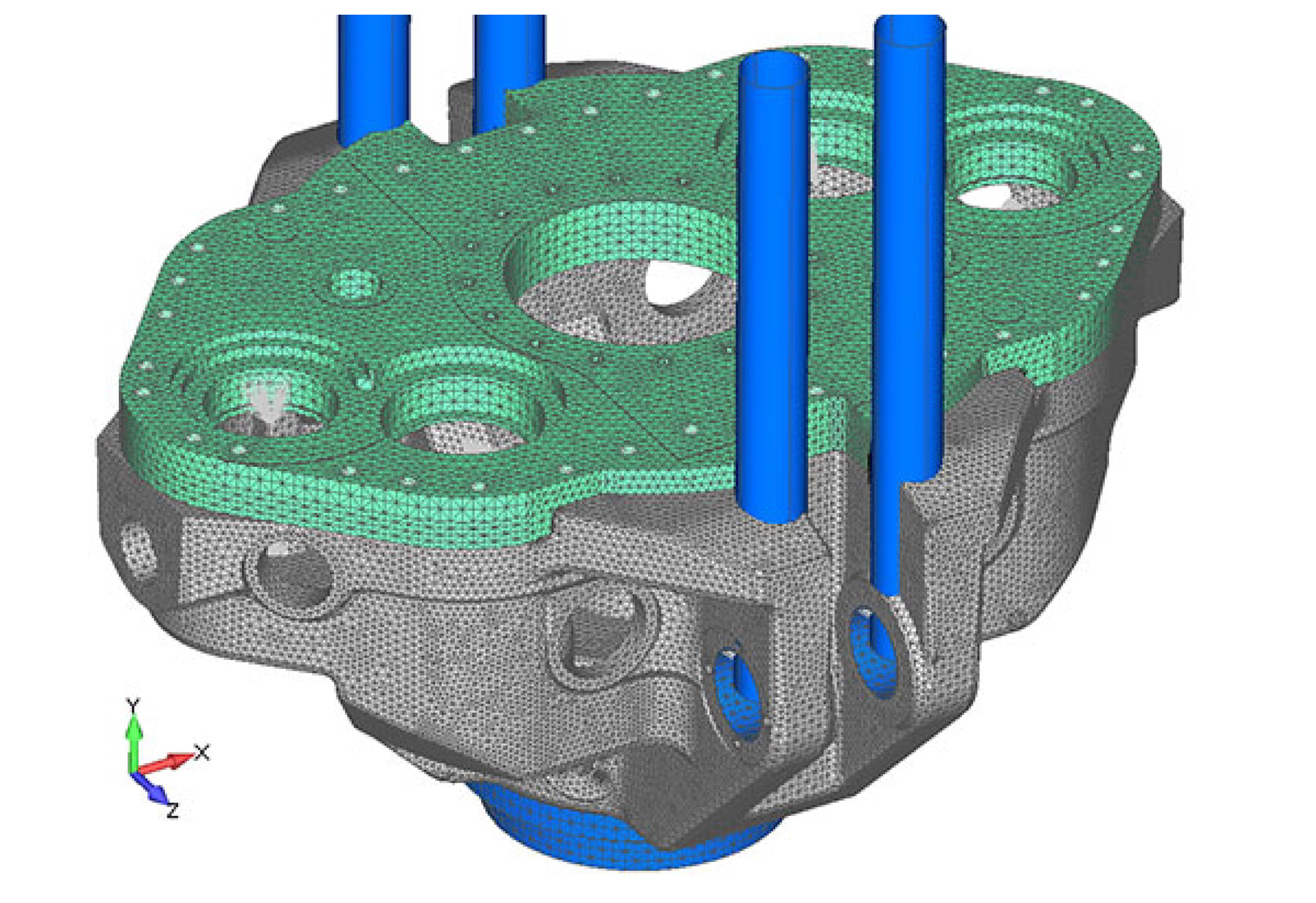 FEA model of 1,000 short ton top drive as analyzed by Predictive Engineering