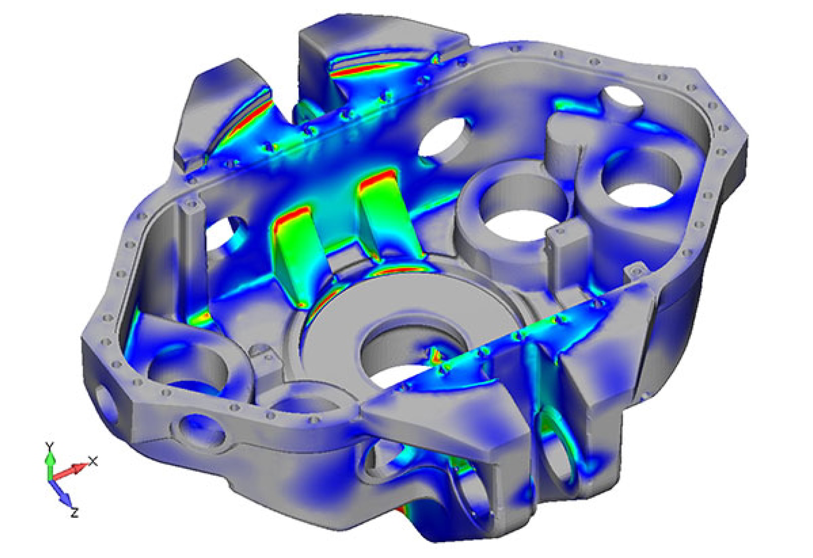 Stress results for FEA model of 1,000 short ton top drive as analyzed by Predictive Engineering