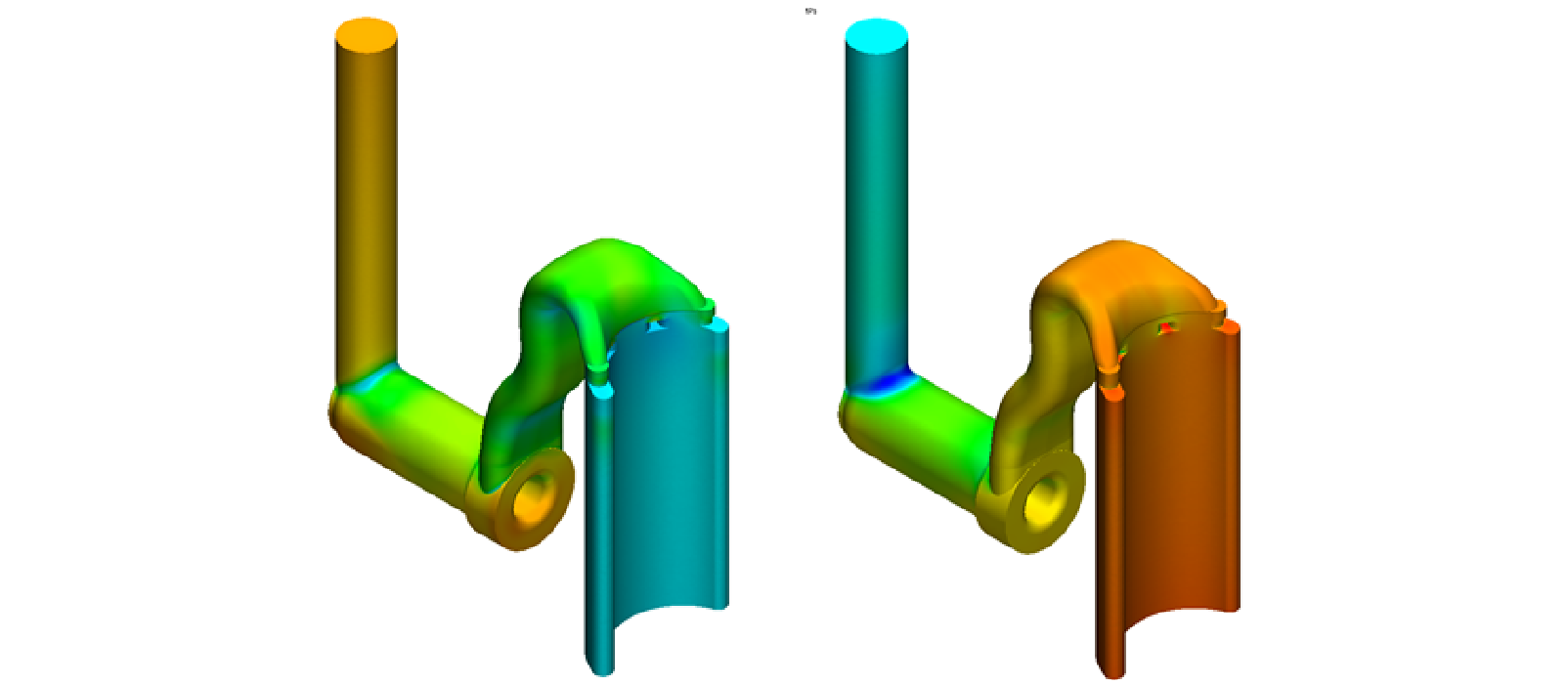 The CFD analysis determined the pressure drop for the piston pump in both pump and motor mode. The pressure drop across bends, expansions, constrictions and other discontinuities is dependent on the direction of flow